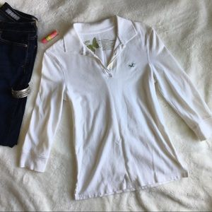 Hollister 3/4 Sleeve Embroidered Polo NWOT